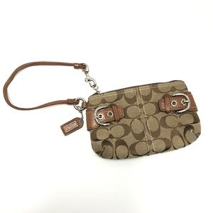 Coach Monogram Wristlet w/ Leather & Side Buckles